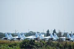 Aérodrome et parkings militaires d'avions Photographie stock