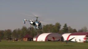 aérodrome La vue de l'hélicoptère moderne vole illustration libre de droits