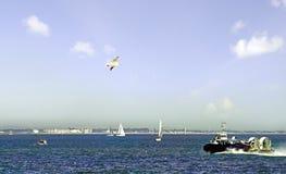 Aéroglisseur laissant l'île du Wight Photographie stock