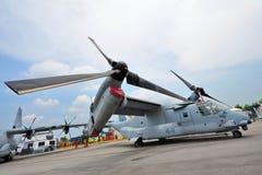 Aéronefs à rotor basculant de balbuzard de Bell Boeing MV-22 sur l'affichage à Singapour Airshow Images libres de droits