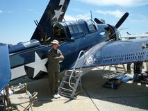 Aéronefs de WWII Helldiver Photographie stock libre de droits
