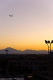 Aéronefs et coucher du soleil Images stock
