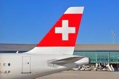 Aéronefs suisses de compagnies aériennes Images libres de droits