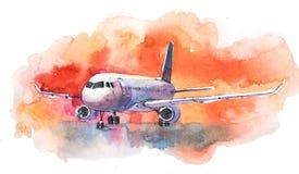 Aéronefs Vol d'avion dans le ciel nuageux L'avion de passagers débarque à la piste d'aéroport illustration libre de droits