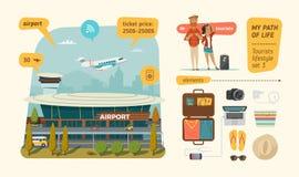 Aéroport avec des informations sur des touristes Photographie stock