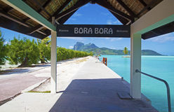 Aéroport bienvenu de Bora Bora de connexion Image libre de droits