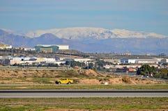 Aéroport d'Alicante sous la neige Photographie stock