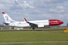 Aéroport d'Amsterdam Schiphol - Boeing 737 des terres norvégiennes Image libre de droits