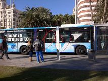 Aéroport d'autobus d'Alicante Espagne Images libres de droits