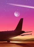 Aéroport dans lumineux de la lune Image stock
