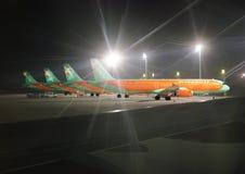 Aéroport de Borispol à Kiev Avions, avions de ligne d'Airbus Photos libres de droits