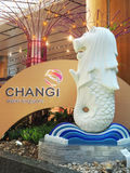 Aéroport de Changi - Merlion Photos libres de droits