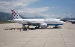 Aéroport de Dubrovnik avec le jet sur le tablier Photographie stock