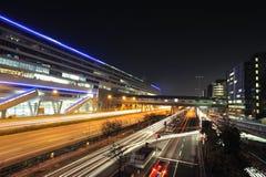Aéroport de Francfort. Terminal de train dans la nuit Photo libre de droits