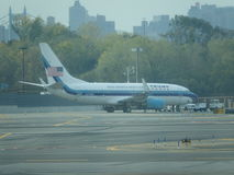 Aéroport 25 de Jet Airplane At LaGuardia de Donald Trump Images libres de droits