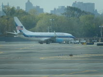 Aéroport 20 de Jet Airplane At LaGuardia de Donald Trump Photos libres de droits