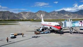 Aéroport de Lhasa, Thibet Photos libres de droits