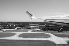 Aéroport de Londres Stansted noir et blanc Photographie stock