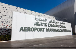 Aéroport de Marrakech Menara Extérieur de l'aéroport de Marrakech M Images stock
