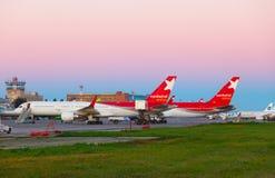 Aéroport de matin Photos libres de droits