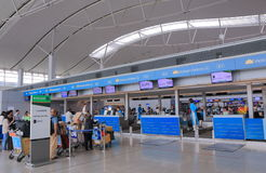 Aéroport de Minh City International de chi de ligne aérienne du Vietnam Ho Photos stock
