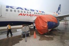 Aéroport de nettoyage de cendre volcanique Image libre de droits
