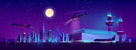 Aéroport de nuit de vecteur avec l'avion et l'hélicoptère illustration stock