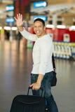 Aéroport de ondulation d'homme au revoir Images stock