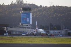 Aéroport de passager de tour de contrôle de La Coruña Photo libre de droits