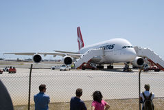 Aéroport de Qantas A380 Perth Photo stock