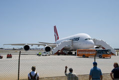 Aéroport de Qantas A380 Perth Photos libres de droits