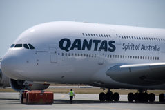 Aéroport de Qantas A380 Perth Image stock