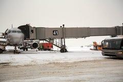 Aéroport de Sheremetyevo en hiver Moscou, Russie Photo libre de droits