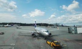 Aéroport de Sheremetyevo, Russie - août 2017 : Aéroport de Sheremetyevo, lignes aériennes russes Aeroflot Photos libres de droits