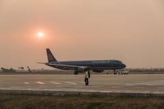 Aéroport de Siem Reap de coucher du soleil Image libre de droits