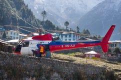 Aéroport de Tenzing-Hillary dans Lukla, Népal. Images libres de droits