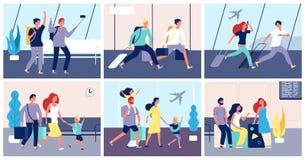 Aéroport de touristes Les gens avec le bagage dans le transport allant de vacances d'été de passagers de terminal d'aéroport inte illustration stock