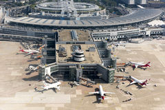 Aéroport Duesseldorf - vue aérienne Photos libres de droits