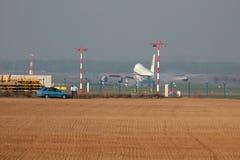 Aéroport en brouillard Photo stock