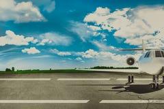 Aéroport et avion de ligne de piste Concept Image libre de droits