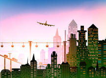 Aéroport et avion de ville au-dessus de la ville Photos libres de droits