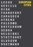 Aéroport Flip Board avec le nom des villes européennes Images stock