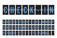 Aéroport Flip Board Panel Font mécanique Photographie stock
