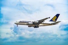 AÉROPORT FRANCFORT, ALLEMAGNE : LE 23 JUIN 2017 : Airbus A380 Singapour Image stock