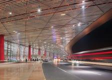 Aéroport international capital extérieur de Pékin, terminal 3 la nuit Photos libres de droits