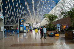 Aéroport international de Shanghai Pudong, Chine, terminal B de départ Images libres de droits