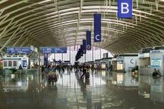 Aéroport international de Shanghai Pudong, Chine, terminal de départ Image libre de droits