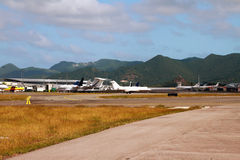 Aéroport international Philipsburg, St Martin Photos libres de droits