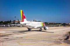 Aéroport Lisbonne - Airbus A318 Image stock
