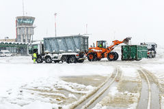 Aéroport Lugano Agno sous la neige Photo stock